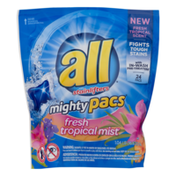 all Mighty Pacs Detergent Fresh Tropical Mist