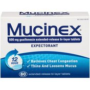 Mucinex 12 Hour Extended-Release Bi-Layer Tablets 600 mg Guaifenesin Expectorant