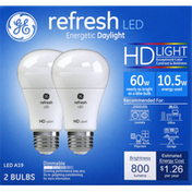 GE Light Bulbs, LED A19, HD, Refresh, 60 W, 2 Pack