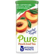Crystal Light Peach Iced Tea Naturally Flavored Powdered Drink Mix with No Artificial Sweeteners