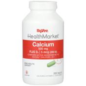 Hy-Vee Healthmarket, Calcium 500 Mg Plus D3 | 5 Mcg (200 Iu) Bone Health Support Calcium & Vitamin D3 Supplement Tablets
