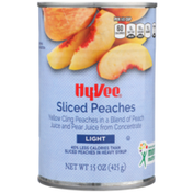 Hy-Vee Light Sliced Yellow Cling Peaches In A Blend Of Peach Juice And Pear Juice From Concentrate