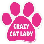 """Imagine This 5.5"""" x 5.5 Pink Crazy Cat Lady Paw Car Magnet"""