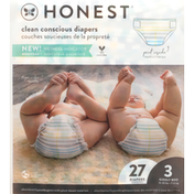 Honest Tea Diapers, Classic Stripes, Giggly Boo, Size 3 (16-28 lbs)