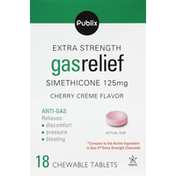 Publix Gas Relief, Extra Strength, Chewable Tablets, Cherry Creme Flavor