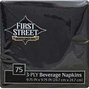First Street Beverage Napkins, Black, 3-Ply
