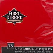 First Street Luncheon Napkins, Classic Red, 3-Ply