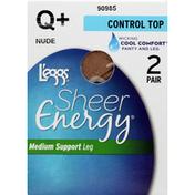 L'eggs Pantyhose, Control Top, Medium Support Leg, Q+ Nude