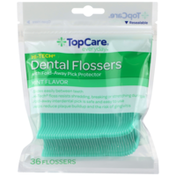 TopCare Hi-Tech Dental Flossers With Fold-Away Pick Protector, Mint