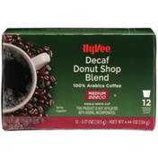 Hy-Vee Medium Roast Decaf Donut Shop Blend 100% Arabica Coffee Single Serve Cups