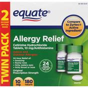 Equate Allergy Relief, Original Prescription Strength, 10 mg, Tablets, Twin Pack