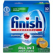 Finish All in 1 Powerball Orange Grease Cutting Automatic Dishwasher Detergent