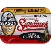 Season Sardines, Cross-Packed, Brisling, in Pure Olive Oil