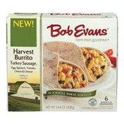 Bob Evans Harvest Burrito Turkey Sausage, Egg, Spinach, Tomato, Onion & Cheese - 6 CT