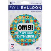Betallic Balloon, Foil, 18 Inch, Birthday