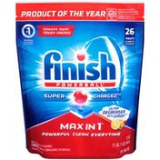 Finish Powerball Max in 1 Super Charged Ultra Degreaser with Lemon Scent Tablets Automatic Dishwasher Detergent