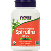 Now Spirulina, Certified Organic, 500 mg, Tablets