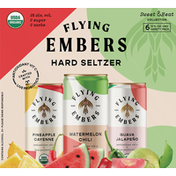 Flying Embers Hard Seltzer, Variety Pack, Sweet & Heat Collection, 6 Pack