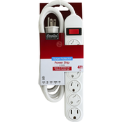Essential Everyday Power Strip, Surge Protector, 6 Outlet, 4 Feet