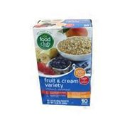 Food Club Fruit & Cream Instant Oatmeal Variety Pack