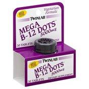 Twinlab Mega B-12 Dots, 5000 mcg, Tablets