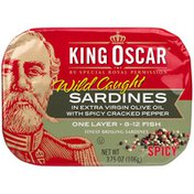 King Oscar Sardines in Olive Oil with Cracked Pepper