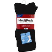 MediPeds Socks, Non-Binding, Crew, Black, Large