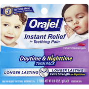 Orajel Oral Pain Reliever, for Teething, Daytime & Nighttime, Gels, Cherry Flavored, Twin Pack