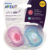 Avent Orthodontic Pacifiers, Ultra Air, 0-6 Months