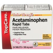 TopCare Junior Strength Acetaminophen 160 Mg Pain Reliever/fever Reducer Rapid Tablets, Bubble Gum