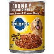 Pedigree Meaty Ground Dinner With Chunky Beef Bacon & Cheese Dog Food