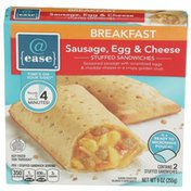 @ Ease Sausage, Egg & Cheese Seasoned Sausage With Scrambled Eggs & Cheddar Cheese In A Crispy Golden Crust Breakfast Stuffed Sandwiches