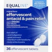 Equaline Effervescent Antacid & Pain Relief, Effervescent Tablets, Original Flavor