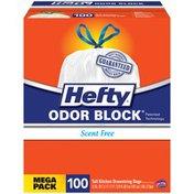 Hefty Odor Block Scent Free Tall Drawstring 13 Gallon Kitchen Bags