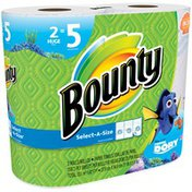 Bounty Select-A-Size Paper Towels, Finding Dory Print, 2 Huge Rolls = 5 Regular Rolls Towels/Napkins