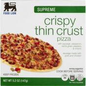 Food Lion Pizza, Thin Crust, Crispy, Supreme, Box