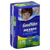GoodNites Boxers, Boys, For Nighttime, L-XL (60-110+ lbs), Jumbo
