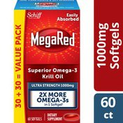 MegaRed Omega-3 Krill Oil Supplement 1000mg, Ultra Strength Softgels, Has No Fishy Aftertaste
