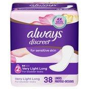 Always Discreet For Sensitive Skin Liners Light Long Absorbency