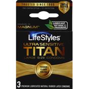 LifeStyles Condoms, Titan, Ultra Sensitive, Large Size