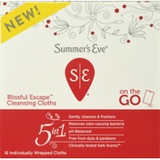Summer's Eve Cleansing Cloths, 5 In 1, On The Go, Blissful Escape
