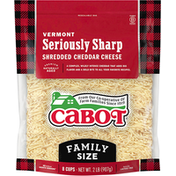Cabot Shredded Cheddar Cheese, Seriously Sharp, Vermont, Family Size