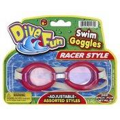 Dive Fun Swim Goggles, Racer Style, Adjustable