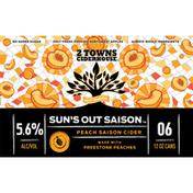 2 Towns Ciderhouse Cider, Peach Saison, 6-Pack