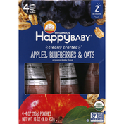 Happy Baby Baby Food, Apples, Blueberries & Oats, 2 (6+ Months), 4 Pack
