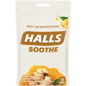 Halls Soothe Honey Ginger Cough Suppressant Oral Anesthetic Drops