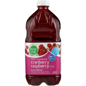 Food Club 100% Unsweetened Cranberry Raspberry Flavored Juice Blend