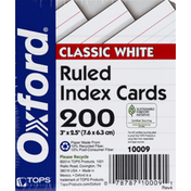 Oxford Index Card, Ruled, Classic White