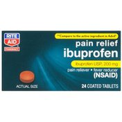 Rite Aid Pharmacy Ibuprofen, 200 mg, Coated Brown Tablets, 24 tablets