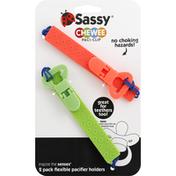 Sassy Pacifier Holders, Flexible, 2 Pack